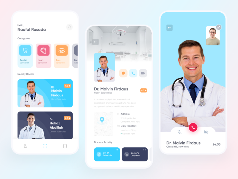 Doctor Apps Exploration consultation video call chat aplication health app healthy doctor blue design eccomerce simple android branding app android app ux ui