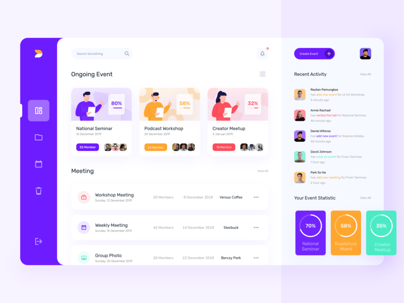 Event Organizer Dashboard Design aplication bootstrap illustration dashboard design clean card design web design event admin database website events dashboad ux ui