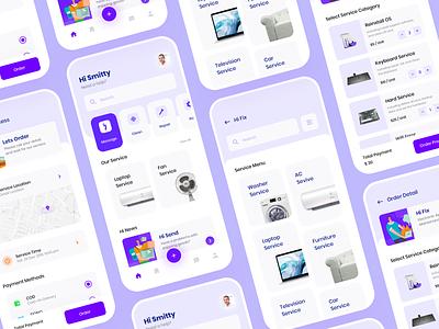 Hi Service App Exploration mobile simple add pay startup ui design android app design purple fix android ux ui app apps blue clean card help service