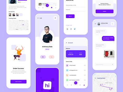 Hi Service App Exploration | Continue purple startup fintech minimal apple android ios ui kit clean chat uiux ui layout care help service app design mobile apps app