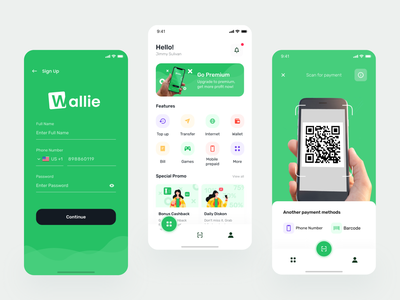 Wallie Digital Wallet clean qr code top up ux ui wallet app green apple android mobile app mobile apps finance payment pay bank money startup fintech wallet