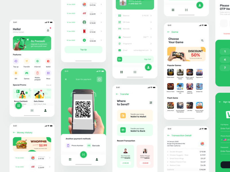 Wallie Digital Wallet | Continue ui startup home uidesign qr code scanner transfers green clean barcode promo discount mobile transactions game top up payment wallet wallet app