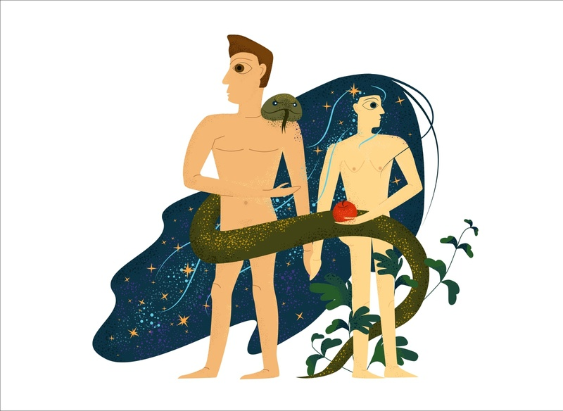 Adam and Eve art adam and eve adam design vector illustration