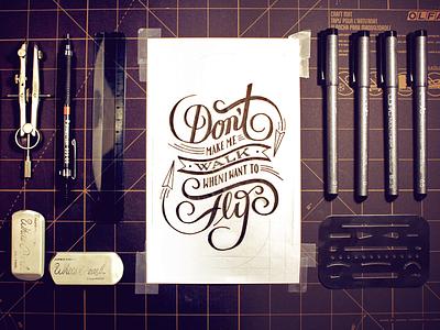 Random Objects type typography apparel label banner lettering vintage handmade custom flourish script
