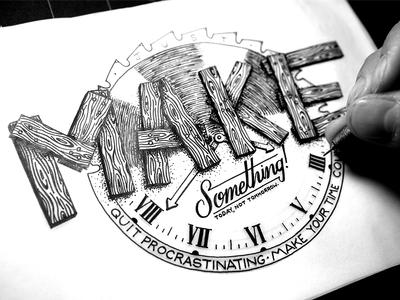 Make Something type typography apparel label script lettering vintage handmade custom