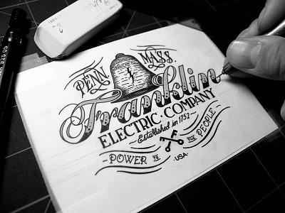 Franklin Electric Company - Inks type typography apparel logo branding lettering vintage handmade custom ornamentation flourish victorian