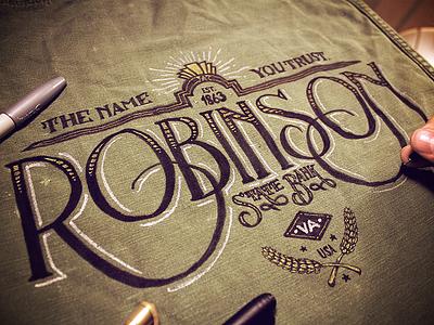 Robinson State Bank type typography lettering vintage handmade custom film prop bank