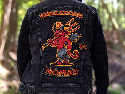 Freelancers Patches chainstitch embroidery nomad mascot devil jacket biker patch freelance