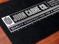 John Carne Co. Business Cards - The Other Side