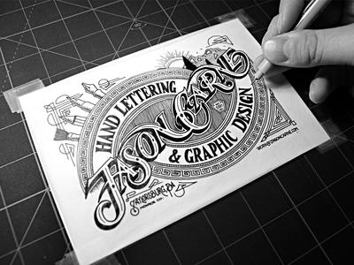 Jason Carne Trade Card  type typography logo branding lettering vintage handmade custom ornamentation flourish victorian trade card