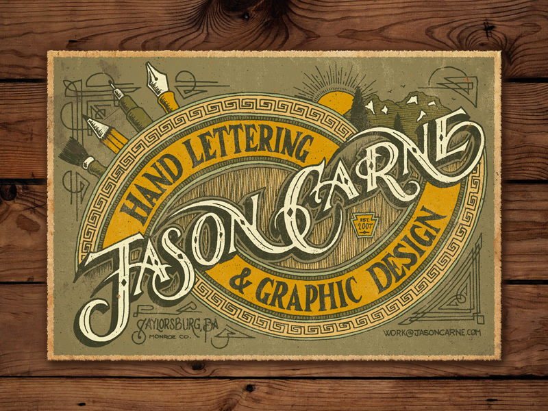 Jason Carne Trade Card - Final trade card victorian flourish ornamentation custom handmade hand lettering lettering branding logo typography type