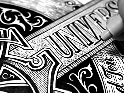 Geek Beat Sneak Peek lettering hand lettering hand drawn typography victorian monogram banner stipple flourish calligraphy