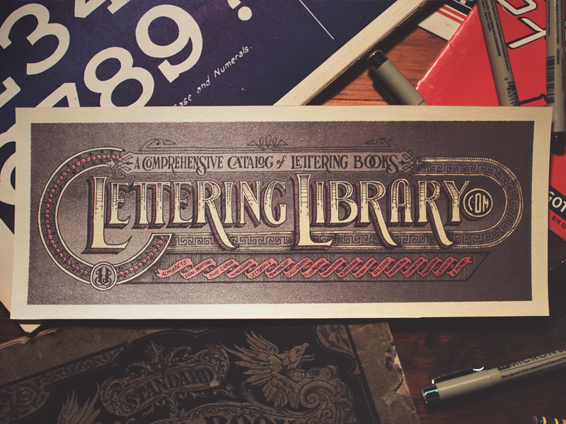 Lettering Library - Print Sample lettering hand lettering hand drawn typography victorian monogram banner stipple flourish calligraphy ornate