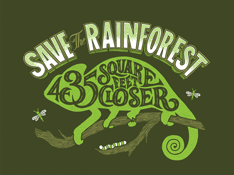 Roupala - Save The Rainforest lettering hand lettering hand drawn typography wood wildlife rainforest conservation charity chameleon bugs