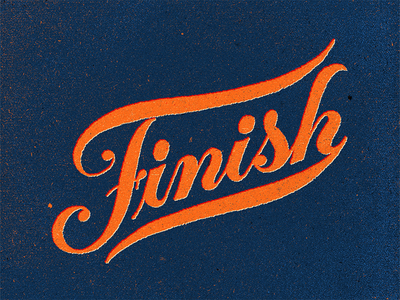 Finish type typography apparel lettering vintage handmade custom script overprint registration texture