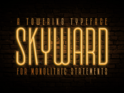 Skyward - A Towering Typeface type typography lettering font typeface serif sans serif inline italic neon