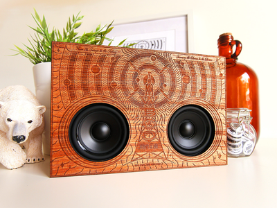 Radio WBCO - Wooden Boombox Co. illustration typography sound cosmos space radio engraved laser boombox wooden wood