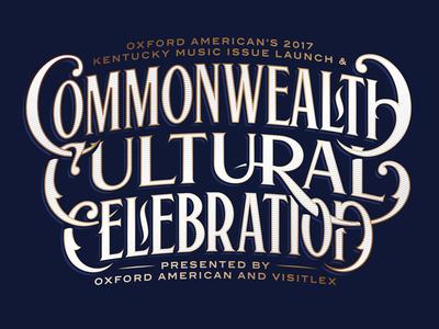 Commonwealth Cultural Celebration headline decorative swash roman vintage lockup logo lettering type