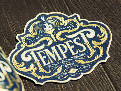 Tempest - Bluegrass Strength Bourbon Whiskey spirits liquor label packaging whiskey bourbon letterpress foiling branding