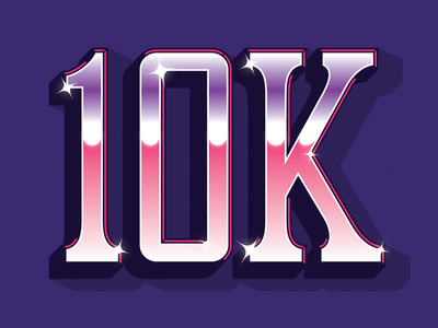 10K Followers! beveled prismatic thanks followers future chrome lettering typography type