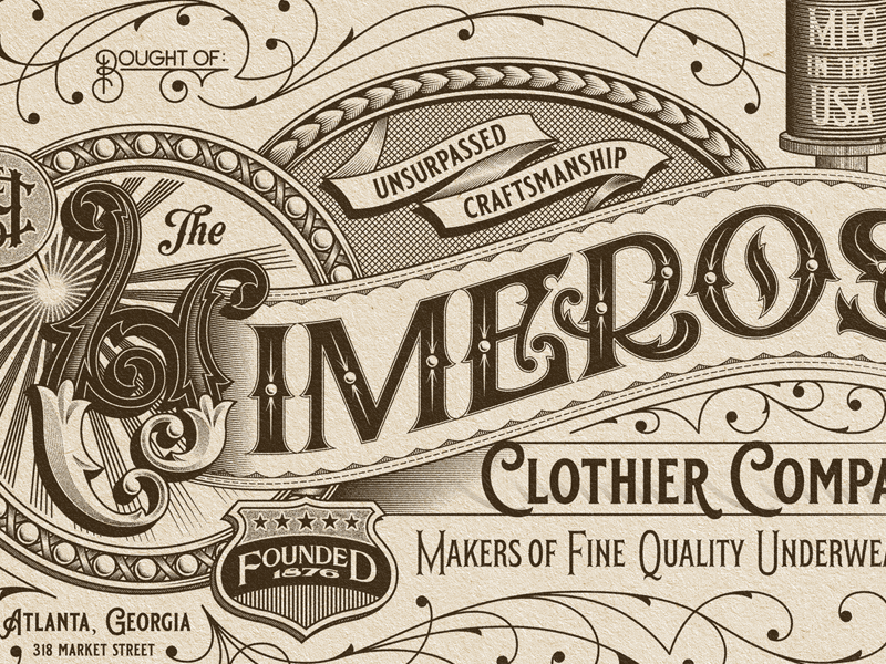 Himeros monogram ornate ornamental ephemera billhead typography type lettering