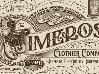 Himeros monogram ornate ornamental ephemera billhead typography type lettering