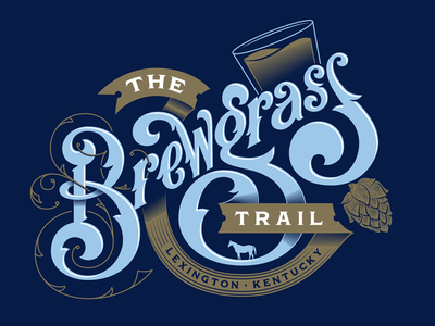 The Brewgrass Trail lexington hops drinking kentucky bar brewery beer lettering typography type