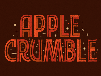 Apple Crumble diner stars apple inline vintage retro lockup typography type lettering