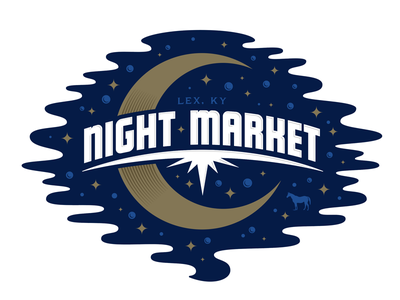 Night Market sky horse moon space market night lockup logo lettering typography type