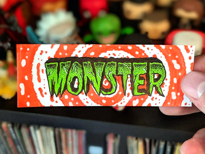 Monster spiral horror psychedelic psych monster vintage typography type lettering