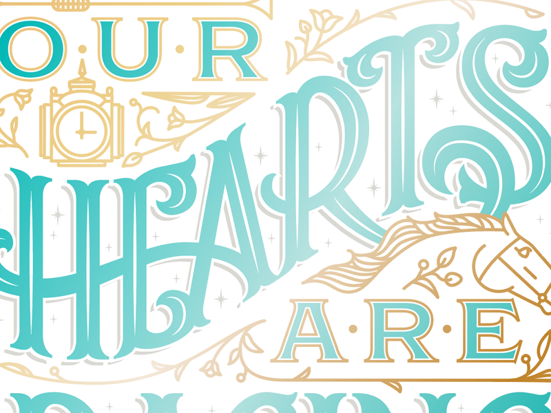 Our Hearts Are Racing monoline ornament racing horse lockup logo lettering typography type