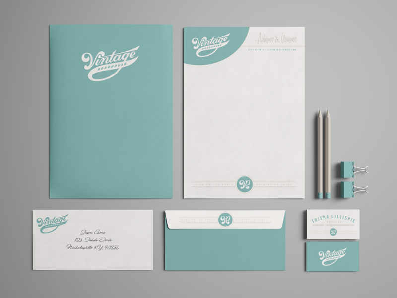 Vintage Roadhouse - Stationery Package monogram letterhead envelope business card lockup branding stationery logo