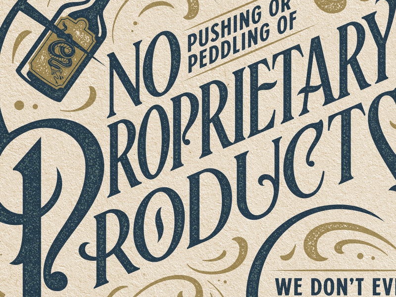 No Pushing or Peddling money swash ornamental retro vintage advertisement lockup lettering typography type