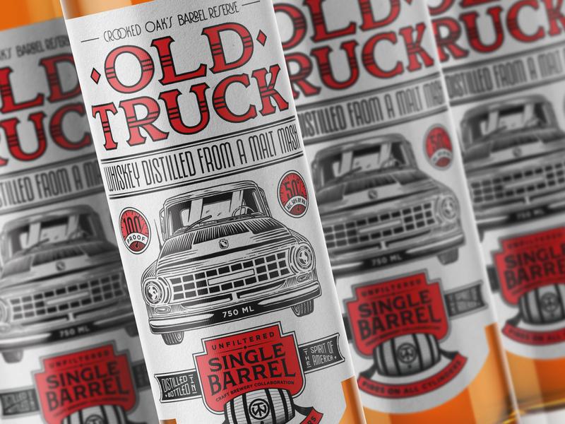 Old Truck Whisky spirits bottle industrial vintage lettering illustration truck whiskey label packaging