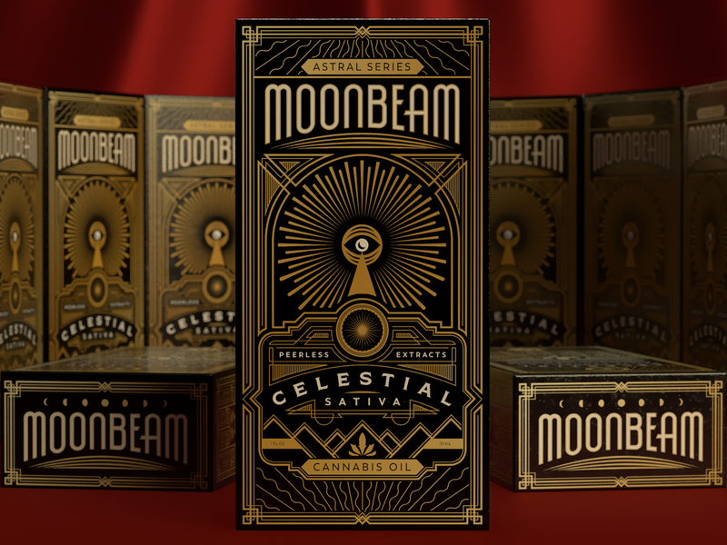 Moonbeam cannabis moon 3d rendering decorative cbd oil cbd art deco packaging design packaging