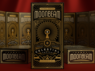 Moonbeam cannabis moon 3d rendering decorative cbd oil cbd art deco packaging design packaging