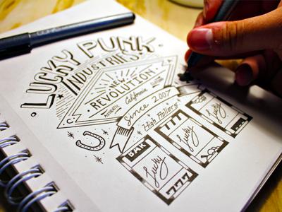 Lucky Punk Industries type typography apparel label lettering vintage handmade custom ornamentation flourish lucky casino slots clover horseshoe