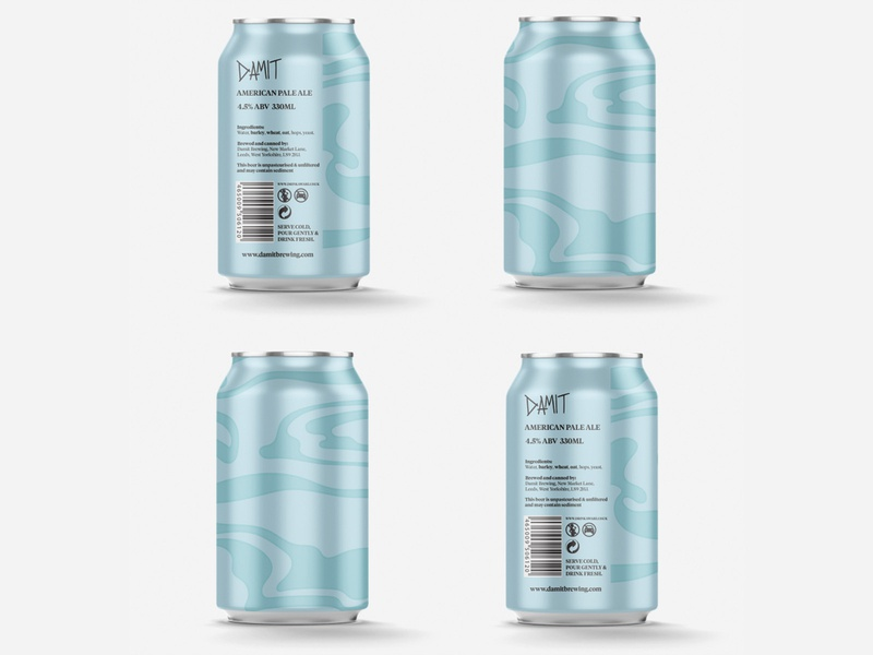 Damit APA beer can swirl pattern illustration hops food branding design brewing craft beer beer brewery