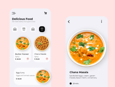Food App Mobile Screen UI Design. iphone android food app food mobile app ui ux design app