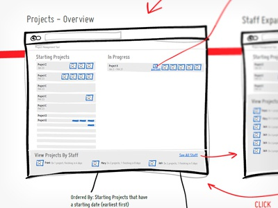 Project Management Tool sketch ui wireframe