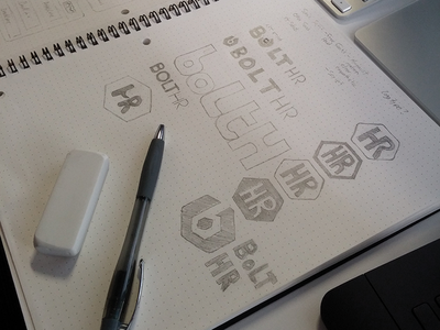 BoltHR Logo Sketch Ideas identity logo bolt hr sketch wireframe dotgrid font type
