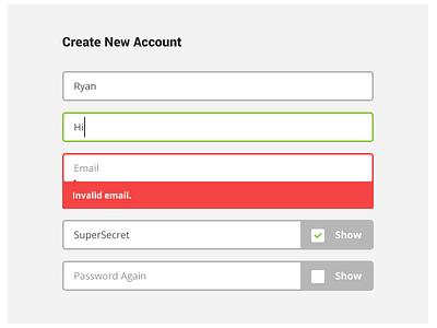 New Account Error error form invalid input password show textbox roboto open sans