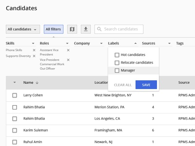 Horizontal Filters applicant tracking system ats table open sans horizontal filters hr crm