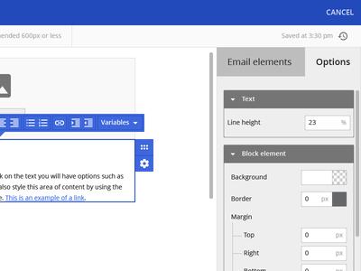 Birchhr Email Template Editor Side Panel