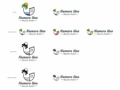 Numero Uno Beach Hotel — Version 2 geometric illustration boutique hotel numero uno beach hotel logo lockup palm tree sun circle geometric courgette mali puerto rico hotel beach