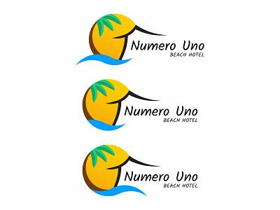 Numero Uno Beach Hotel — Version 3 boutique hotel geometric illustration sun puertorico palm tree beach hotel numero uno hotel logo geometric circle beach