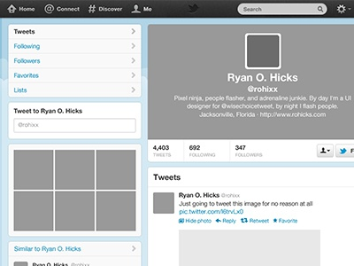 Twitter free psd template by ryan o hicks dribbble twitter pronofoot35fo Image collections