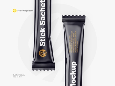 Glossy Stick Sachet Mockup coffee stick sachet coffee stick coffee salt food branding pack packaging package yellow images mock-up mock up stick sachet glossy mockup sachet sticker