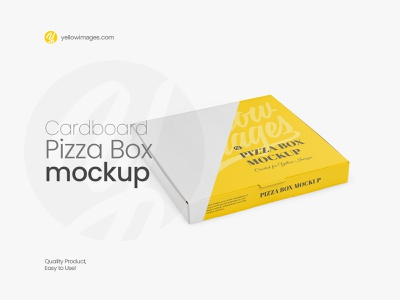🍕 Cardboard Pizza Box Mockup - Halfside View 🍕 yellow images photoshop psd texture food paper pizza to go pack packaging package matte carton cardboard box cardboard mock-up mock up mockup pizza box pizza