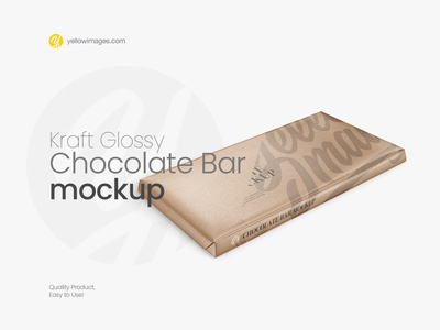 Kraft Glossy Chocolate Bar Mockup - Halfside View (High Angle Sh